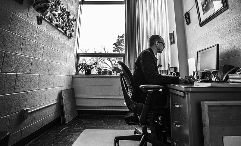 Jon Frey working in his office