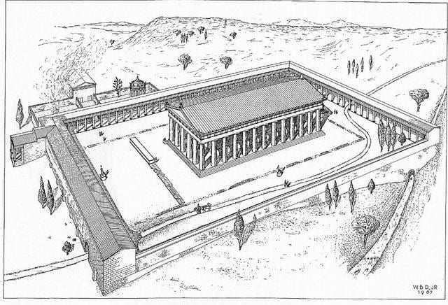 Axonometric View of the Temple of Poseidon in the Roman Period